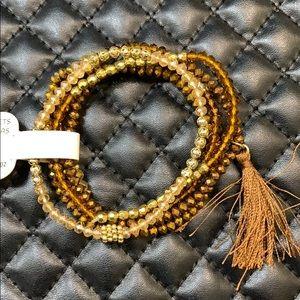🆕Boho Gypsy Golden Brown Seed Bead Layer Bracelet